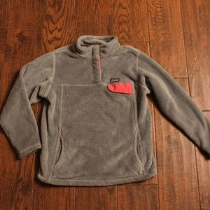 PATAGONIA GRAY/PINK TRIM FLEECE T- SNAP PULLOVER